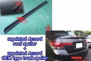 Unpainted Honda 08-12 ACCORD Sedan roof spoiler + OEM type trunk spoiler ◎