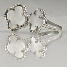 Chic Mother of Pearl Four Leaf Clover Sterling Silver Ring, Size 7, New
