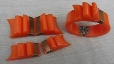 Deco VTG Bakelite Ribbon Bow Orange Bangle Bracelet Belt Buckle Dress/Shoe Clips