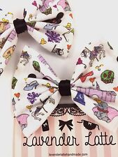 Fantasy Land Doodles Fabric Handmade Hair Bow Cute Hair Clip