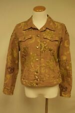 Caribbean Joe Brown Jean Jacket Petite Jacket Size PL Cotton Blend Floral Fall