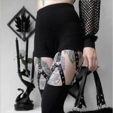 Womens Punk Gothic Ripped Studs Buckle Skinny Pants Casual Trousers Legging 7272