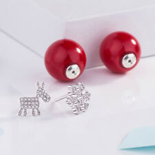 Snowflake Deer Earrings Red Imitation Pearls Double Sided Ear Stud Jewelry