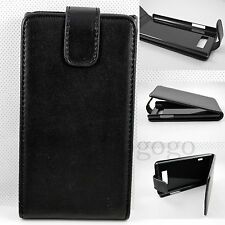 Black Vertical Flip Leather Folding Pouch Cover Case For  LG Optimus L7 P705