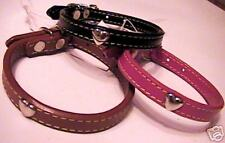 "LEATHER Heart Studded DOG COLLAR 1/4"" x 9""  Brown or Black"