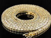 1 ROW YELLOW GOLD FINISH DIAMOND CHAIN NECKLACE 3 CT 34 INCH