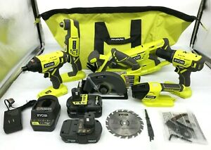 RYOBI P1819 18V One+ Cordless 6 Tool Combo Kit Set Impact Drill Driver Saw, N