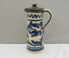 More details for unusual aller vale pottery torquay jug with pewter lid scrolling decoration