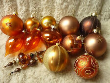 LARGE COPPER BROWN BAUBLES  ASSORTED MAINLY GLASS CHRISTMAS TREE DECORATIONS