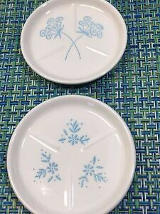 LOT OF 2 RARE CERAMIC DIVIDED DIVIDER PLATE BUTTER PAT WITH FLORAL DESIGN