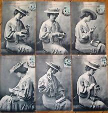 SET OF SIX 1906 French Fantasy Postcards: Woman & Objects in Purse/Handbag