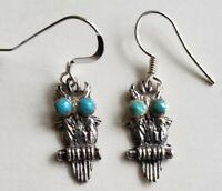 Small Vintage Southwestern Sterling Silver Turquoise Owl Earrings