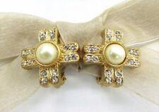 Crystal Rhinestone Clip On Earrings 18Kgp Cross Pearl Swarovski Element Austrian