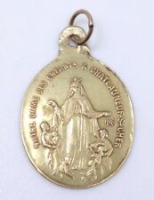 Ancienne jolie médaille religieuse en or 18k Notre Dame des enfants XIXeme