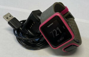 Tom Tom Multisport Running GPS Watch 8RS00 With Charger Pink and Gray Band