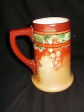 New listing Antique Limoges Porcelain Stein, Tankard, W. Guerin,France. Currants, Brown,Ochr