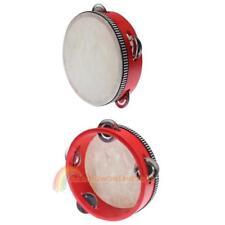 Educational Red  Musical Tambourine Beat Instrument Hand Drum Children  R1BO