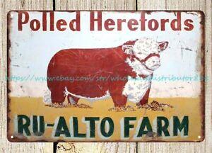 home kitchen lodge Polled Herefords, Navajoe Hereford metal tin sign