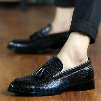 Fashion Men's Tassels Casual Pointed Toe Cuban Heel Slip On Loafers Fringe Shoes