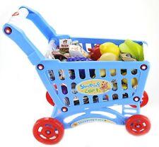 Children's Musical Grocery Shopping Cart PlaySet w/ Light & Sound Blue PS77