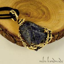 Lapis Lazuli Crystal Fish Vintage Pendant Brass Wire Wrapped Natural Gemstone
