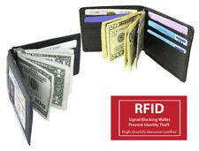 Black RFID Blocking ID Badge Mens Leather Money Clip Bill Fold Bifold Wallet