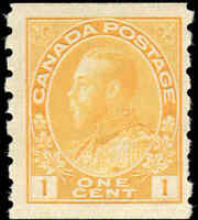 Mint NH Canada 1c 1923 F-VF Scott #126 Coil King George V Admiral Stamp