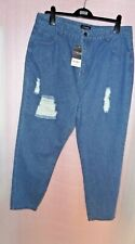 HEART YOURS UK 16  CLOTHING LADIES BLUE RIPPED DISTRESSED JEANS BNWT
