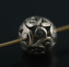 10Pcs Tibetan Silver Hollow Out Round Loose Beads Spacer Charms Findings 11mm