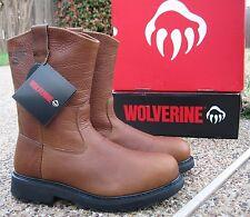 New Mens Wolverine Herrin Tan All Leather Steel Toe Wellington Work Boots W08377