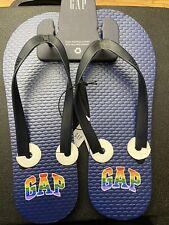 NEW Gap Rainbow Pride Men's Flip Flops SZ 11 Blue Beach Sandals Casual Unisex