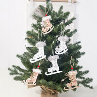 3pcs Wooden Christmas Ski Suit Pendants Christmas Tree Ornaments Xmas Decor JB