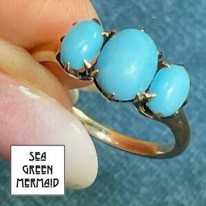 10k Yellow Rose Gold Persian TURQUOISE Victorian Ring. Robins Egg Blue_21_159