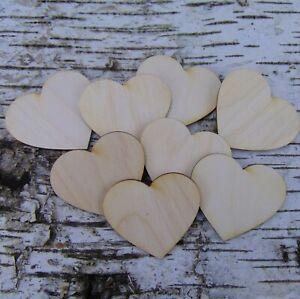 8 Stck Herzen 6 cm aus Holz zum Anhängen Holz Herz Hochzeitstischkarte Tischdeko