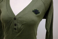 Harley-Davidson Women's Long Sleeve Olive Green 3 Button Henley B&S Shirt Large
