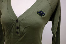 Harley-Davidson Women's Long Sleeve Olive Green 3 Button Henley B&S Shirt Small