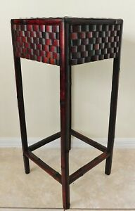 """Beautiful Tall Vintage 32"""" Bamboo Weave Mahogany Wood Plant Stand Pedestal Table"""
