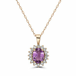 Birthstone Pendant 1 1/2 cts Natural Pink Sapphire, Nude Diamonds, 14K Rose Gold