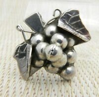 Mexico Taxco TI-01 Sterling Silver Grape Cluster Necklace Pendant Pin Brooch