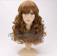 Women Girls hermione Cosplay wig long Curly Fluffy Light brown Wigs +a wig cap