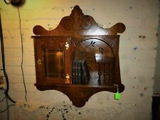 Antique Oak Curio cabinet stick and ball beveled glass door 1900's refinished