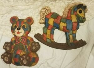 Vintage FoamCraft Patchwork wall plaques Teddy bear and Rocking horse 12 inch