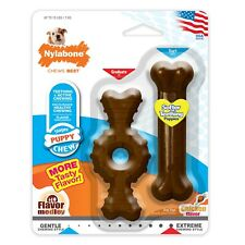 Nylabone Puppy Combo Pack Medley flavor | Ring and Bone Teething Treat Toys