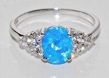 Argento Sterling (925) Blu ARDENTE Opal Donna Cluster Anello-Taglia P (sr0989b)