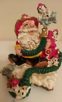 "Fire Department Santa Claus Hose and Dalmatian Figurine 6"" Tall Resin Christmas"