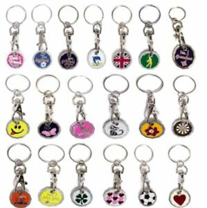 SHOPPING TROLLEY TOKEN £1 POUND COIN NEW SHAPE KEYRING CLASP GIFT  PACK OF 2