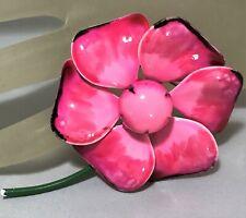 Vtg 1960s Flower Power Brooch Painted Enamel Pink Purple Poppy Floral Pin 919