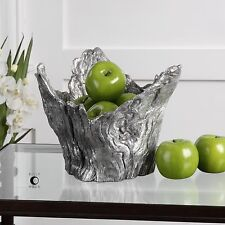 "MASSIMO 12"" BRIGHT METALLIC SILVER DISPLAY BOWL TREE STUMP STYLE UTTERMOST"