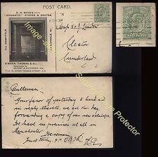 "1909 LONDON illustrated Trade card, EDVII Security ""PERFIN"" O'Brien,Thomas & Co"