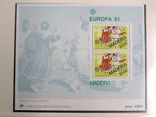 TIMBRES DE MADERE : BLOC FEUILLET DE 1981 EUROPA** NEUF SANS CHARNIERE - TBE